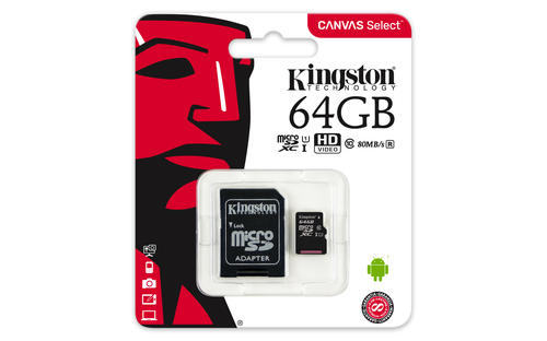 64GB micro SD-Card Kingston Canvas UHS-I Class 10 ( max. 80MB lesen ) inkl. Adapter