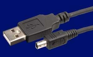 USB 2.0 Kabel, A- auf Mini B-Stecker 4-pol., 1.8 Meter
