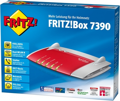 AVM FRITZ!Box FON WLAN 7390 (Modem/Router/WLAN-N 300MBit/Telefonanlage), refurbished