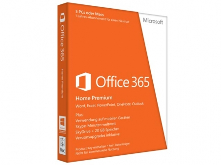 Microsoft Office 365 Home 5PCs/MACs + 5Tablets ( Word / Excel / PowerPoint / One Note / Outlook ) deutsch